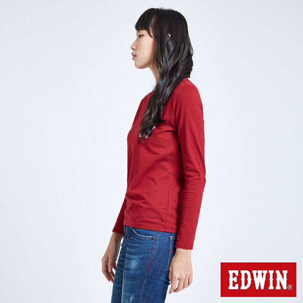 EDWIN MODS標靶紅心 薄長袖T恤-女款 紅色 3