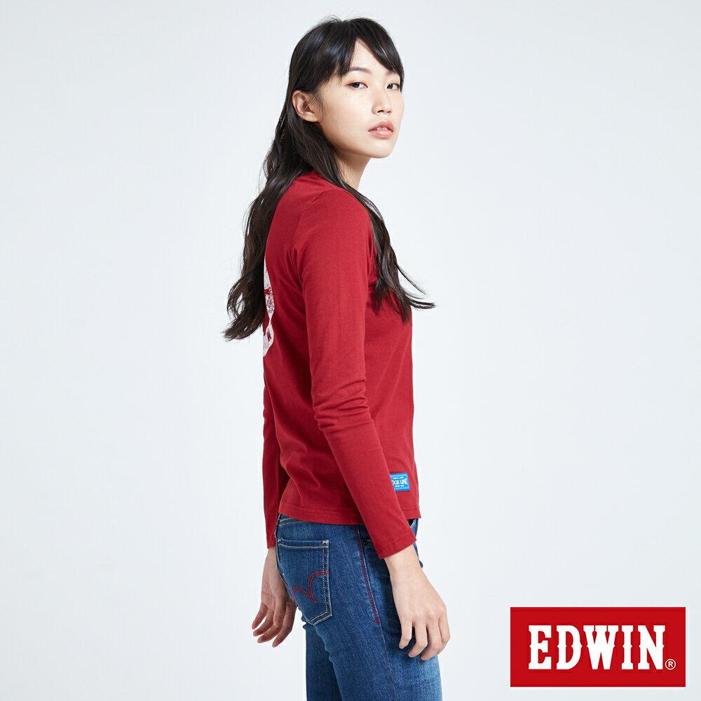 EDWIN MODS標靶紅心 薄長袖T恤-女款 紅色 4