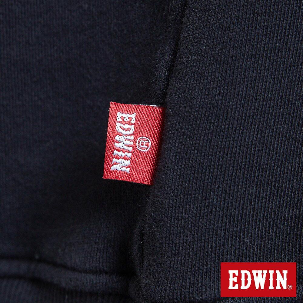 EDWIN  格紋LOGO 小高領厚長袖T恤-男款 黑色 衛衣 大學T【天天消費滿1200→12 / 9憑券序號12S120H再折120元】 7