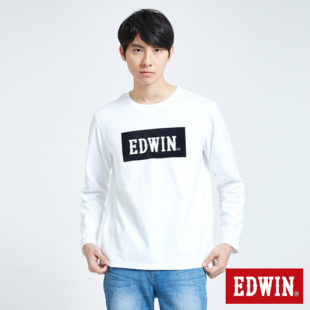 EDWIN 經典LOGO植絨 薄長袖T恤-男款 白色 英式搖滾【天天消費滿1200→12 / 9憑券序號12S120H再折120元】 0