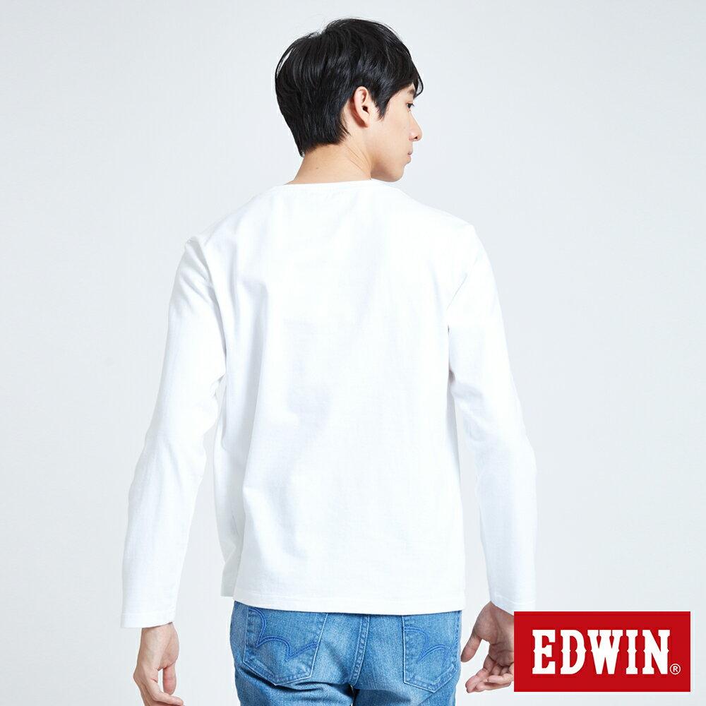 EDWIN 經典LOGO植絨 薄長袖T恤-男款 白色 英式搖滾【天天消費滿1200→12 / 9憑券序號12S120H再折120元】 2