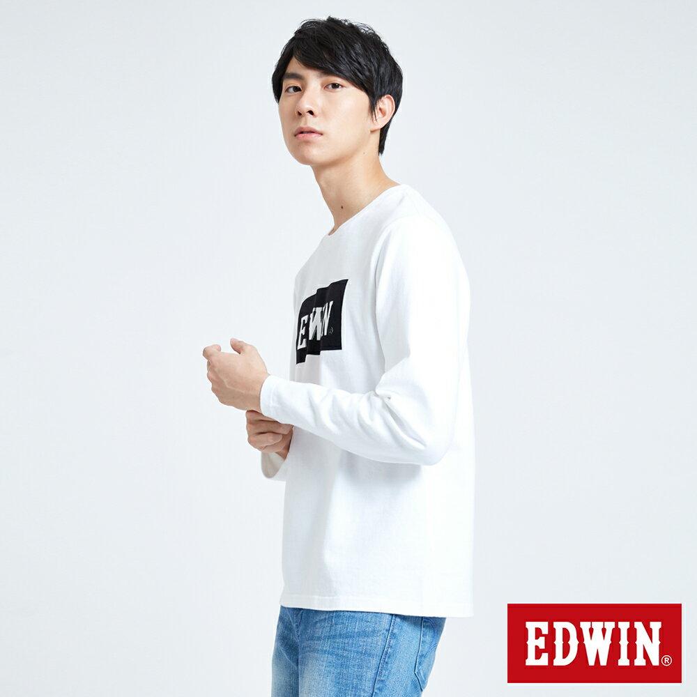 EDWIN 經典LOGO植絨 薄長袖T恤-男款 白色 英式搖滾【天天消費滿1200→12 / 9憑券序號12S120H再折120元】 4