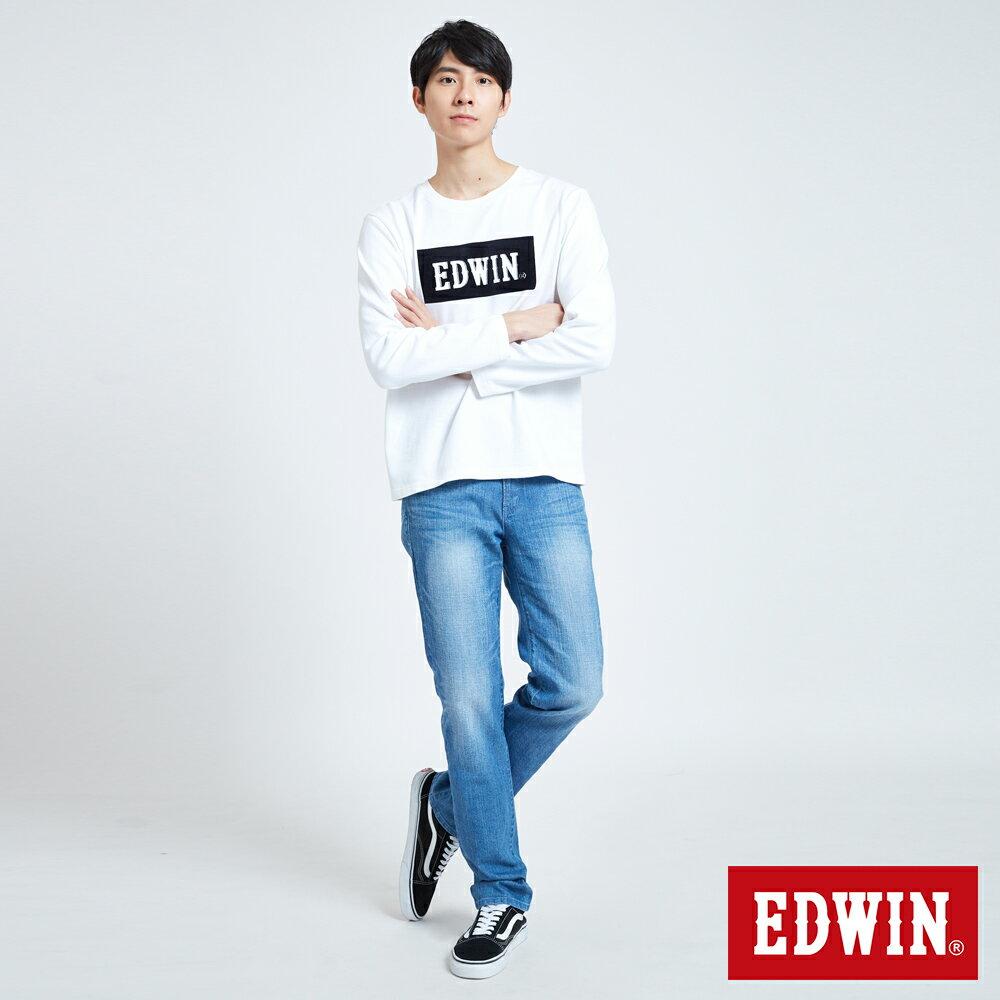 EDWIN 經典LOGO植絨 薄長袖T恤-男款 白色 英式搖滾【天天消費滿1200→12 / 9憑券序號12S120H再折120元】 5