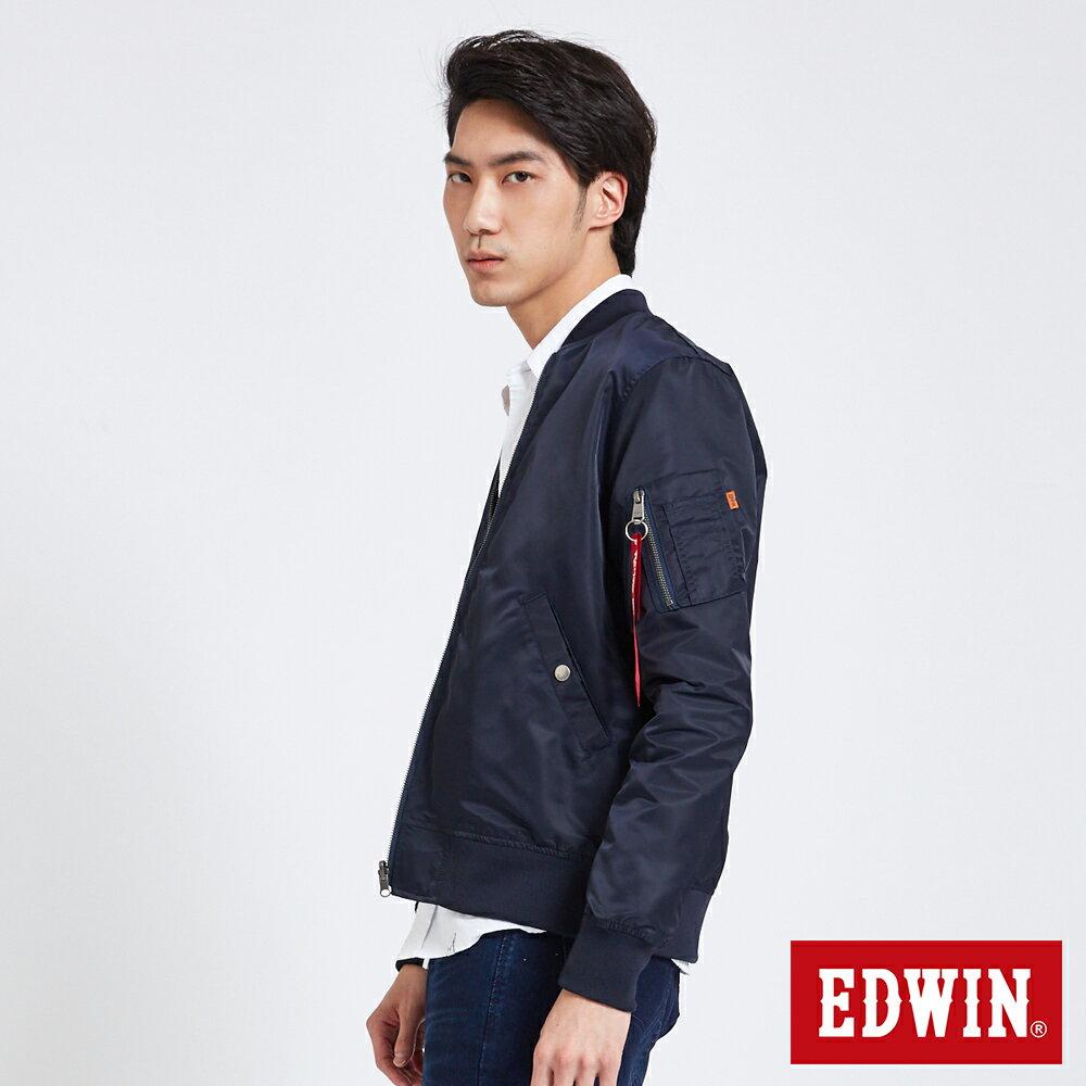 EDWIN 雙面迷彩 MA-1風衣外套-男款 丈青 3