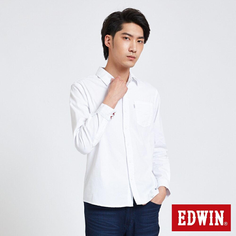 新品↘EDWIN 經典單袋 長袖襯衫-男款 白色 東京系列 0
