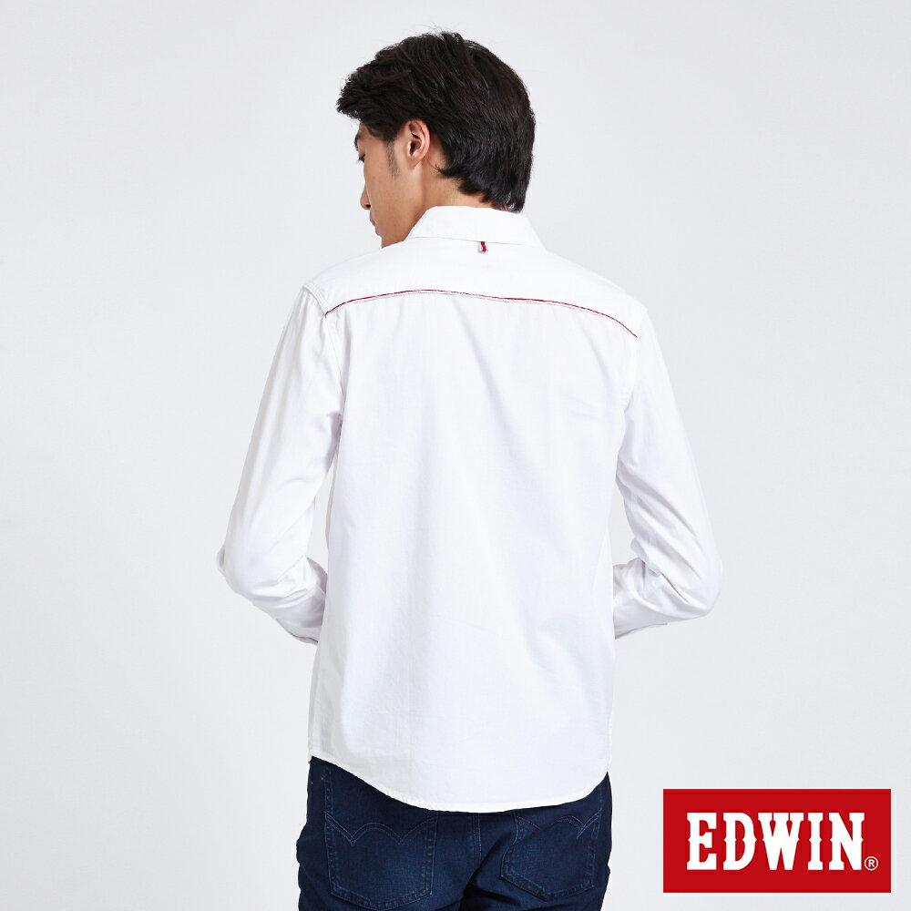 新品↘EDWIN 經典單袋 長袖襯衫-男款 白色 東京系列 1