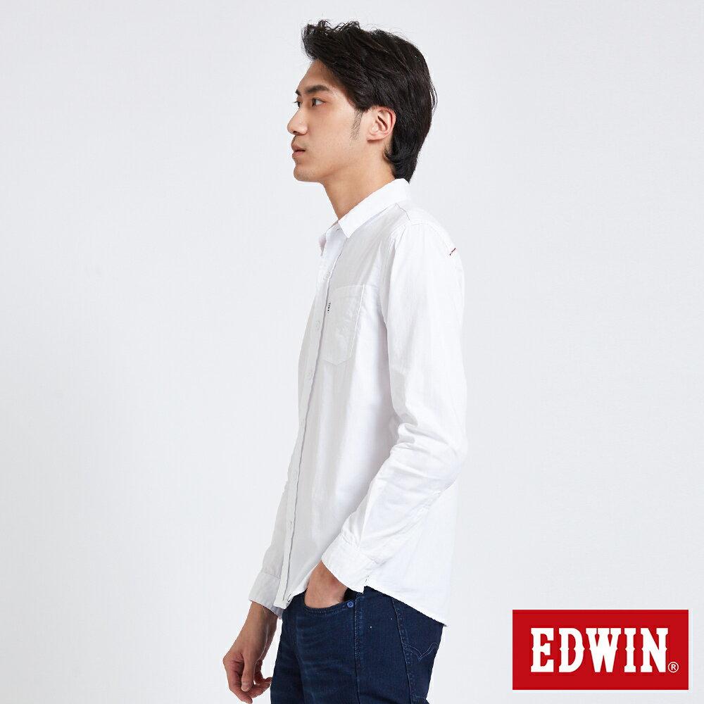 新品↘EDWIN 經典單袋 長袖襯衫-男款 白色 東京系列 2