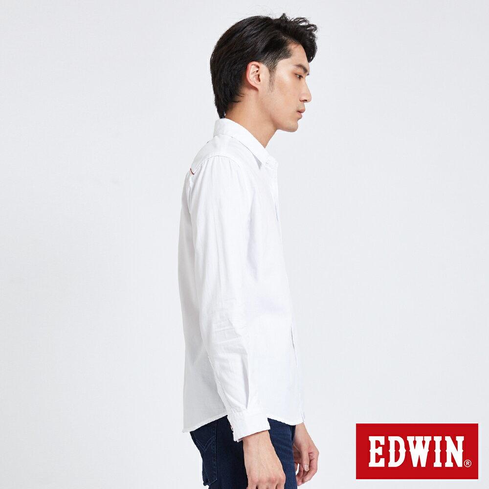 新品↘EDWIN 經典單袋 長袖襯衫-男款 白色 東京系列 3