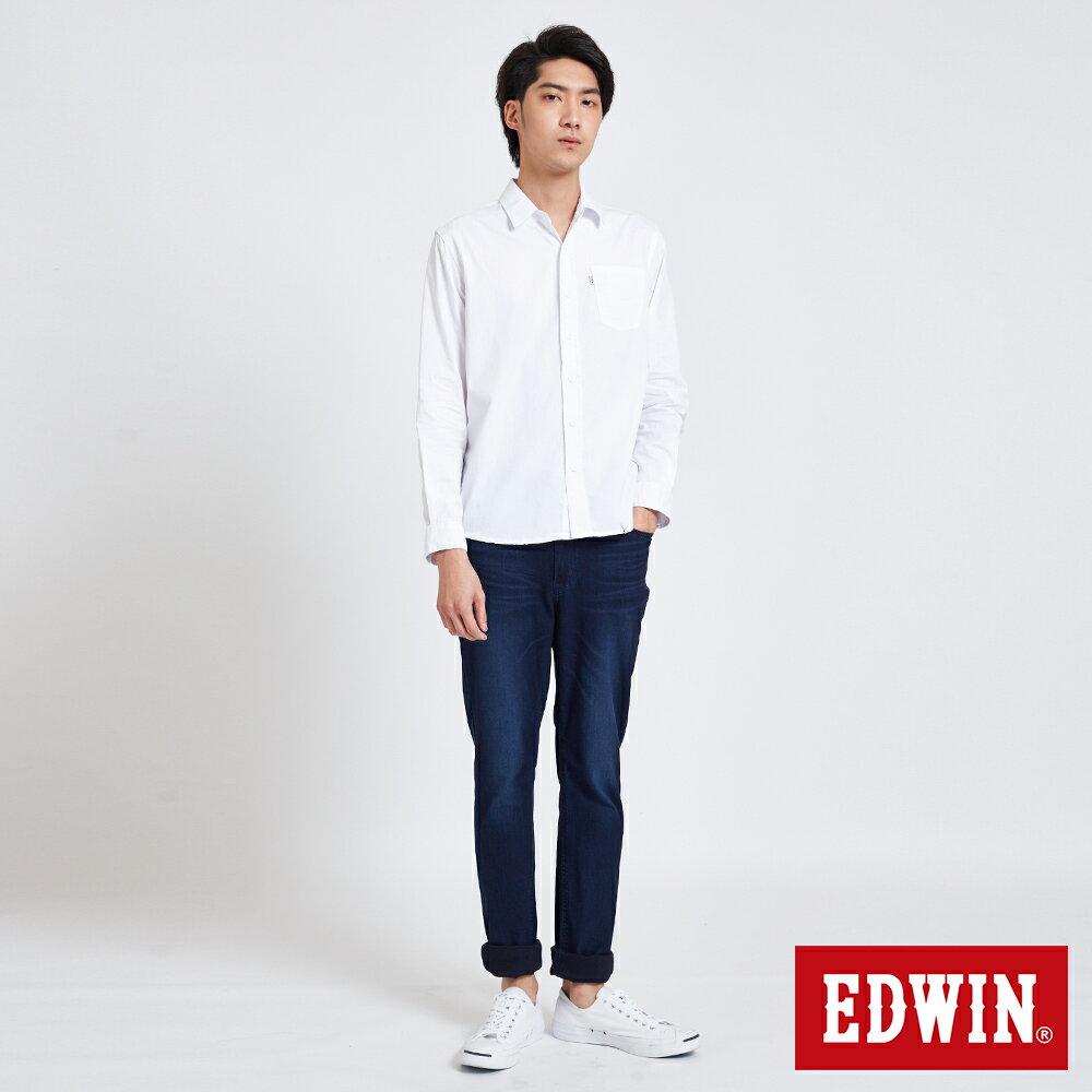 新品↘EDWIN 經典單袋 長袖襯衫-男款 白色 東京系列 4