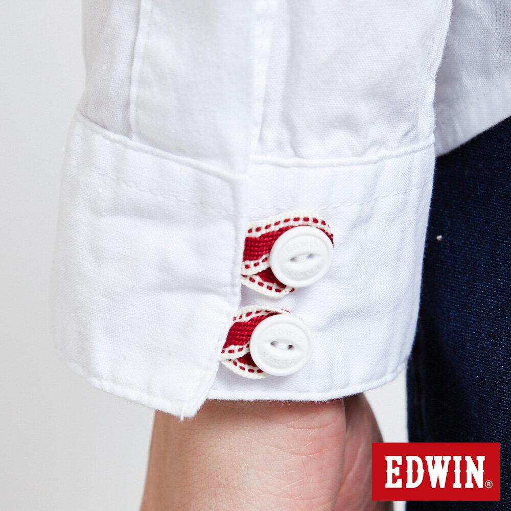 新品↘EDWIN 經典單袋 長袖襯衫-男款 白色 東京系列 6