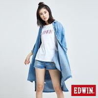 牛仔襯衫推薦到EDWIN OVER SIZE刷破 長袖牛仔襯衫-女款 重漂藍 築地系列就在EDWIN推薦牛仔襯衫