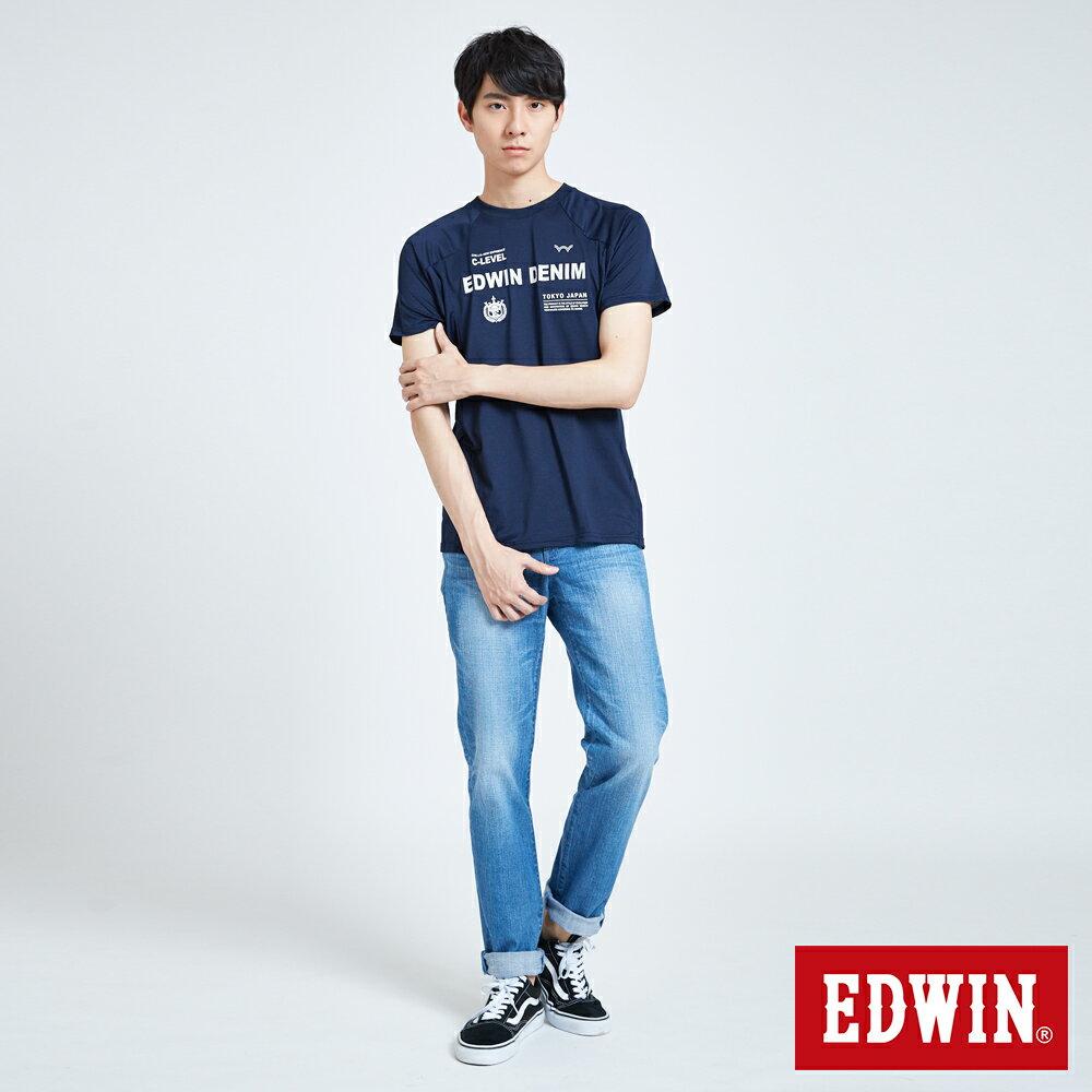 【領券9折】EDWIN 運動風機能涼感 短袖T恤-男款 丈青 東京系列 5