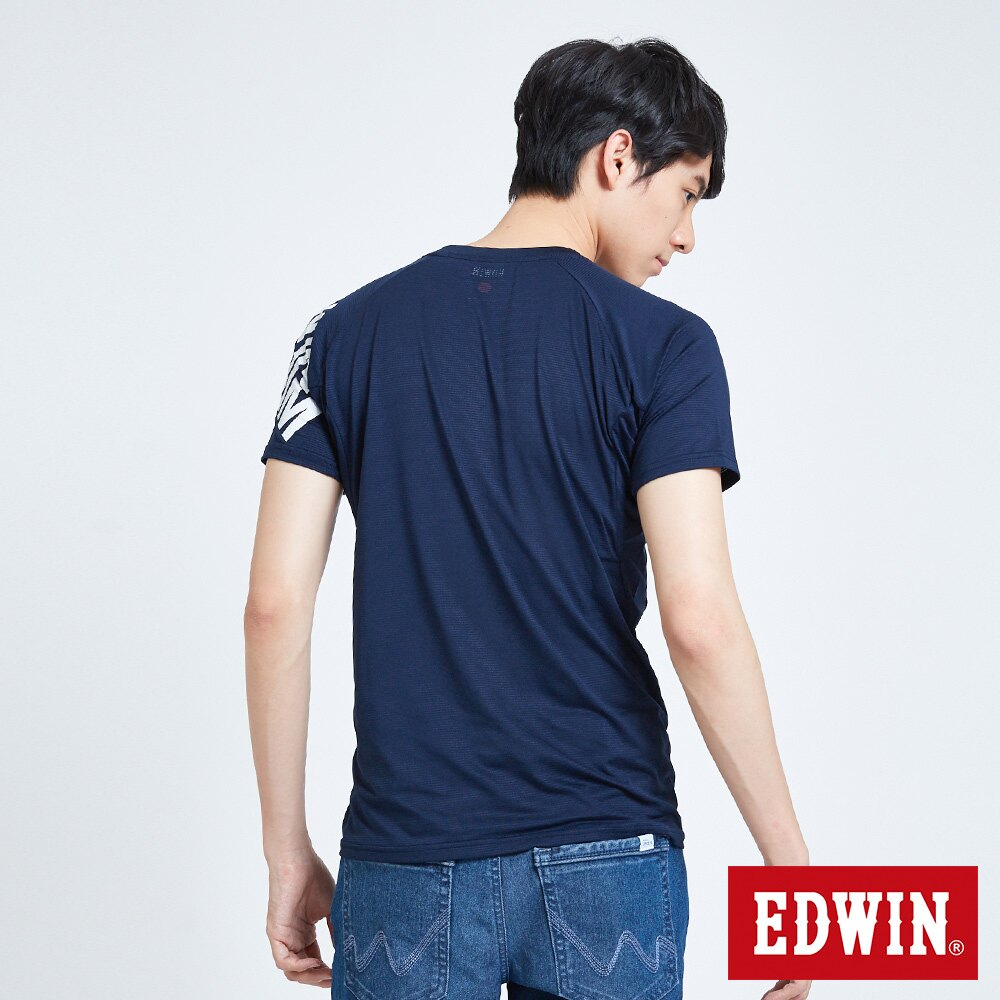 【APP領券9折】EDWIN 快適涼感機能 短袖T恤-男款 丈青 東京系列 2