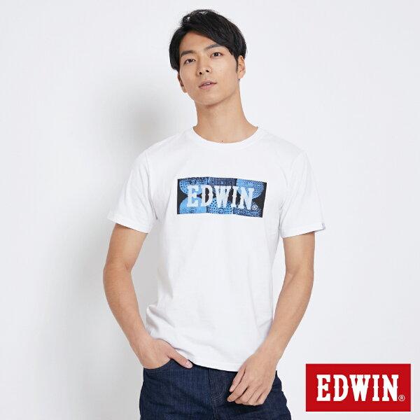 【新品上市↘】EDWIN地紋蓋LOGO短袖T恤-男款白色東京系列【5月會員消費滿3000元再賺15%點數】