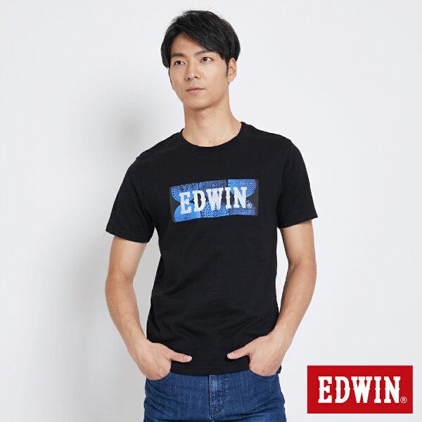 【新品上市↘】EDWIN地紋蓋LOGO短袖T恤-男款黑色東京系列【5月會員消費滿3000元再賺15%點數】