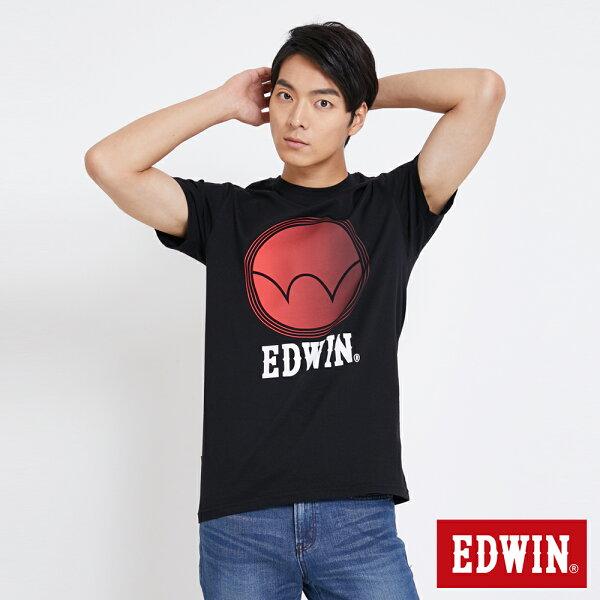 【新品上市↘】EDWIN圓漸層印刷短袖T恤-男款黑色東京系列【5月會員消費滿3000元再賺15%點數】