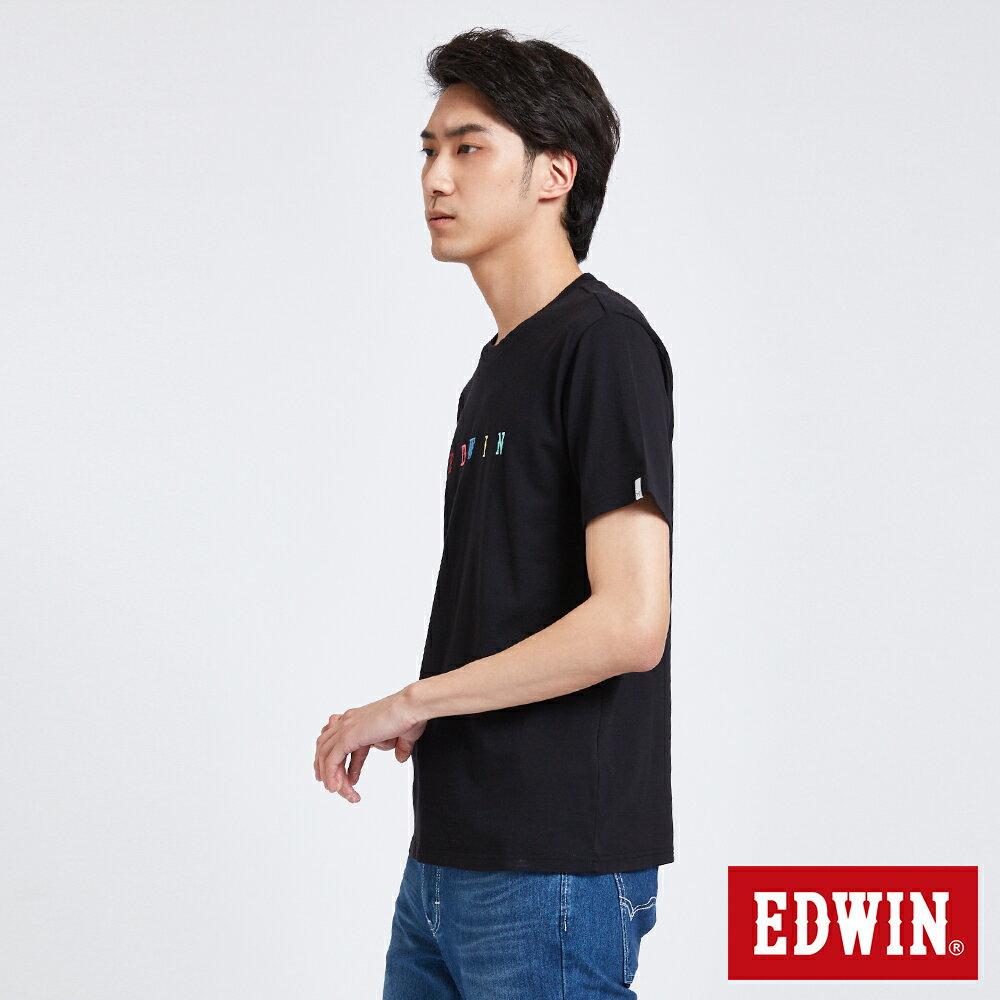 EDWIN 繽紛LOGO繡字 短袖T恤-男款 黑色 東京系列 3