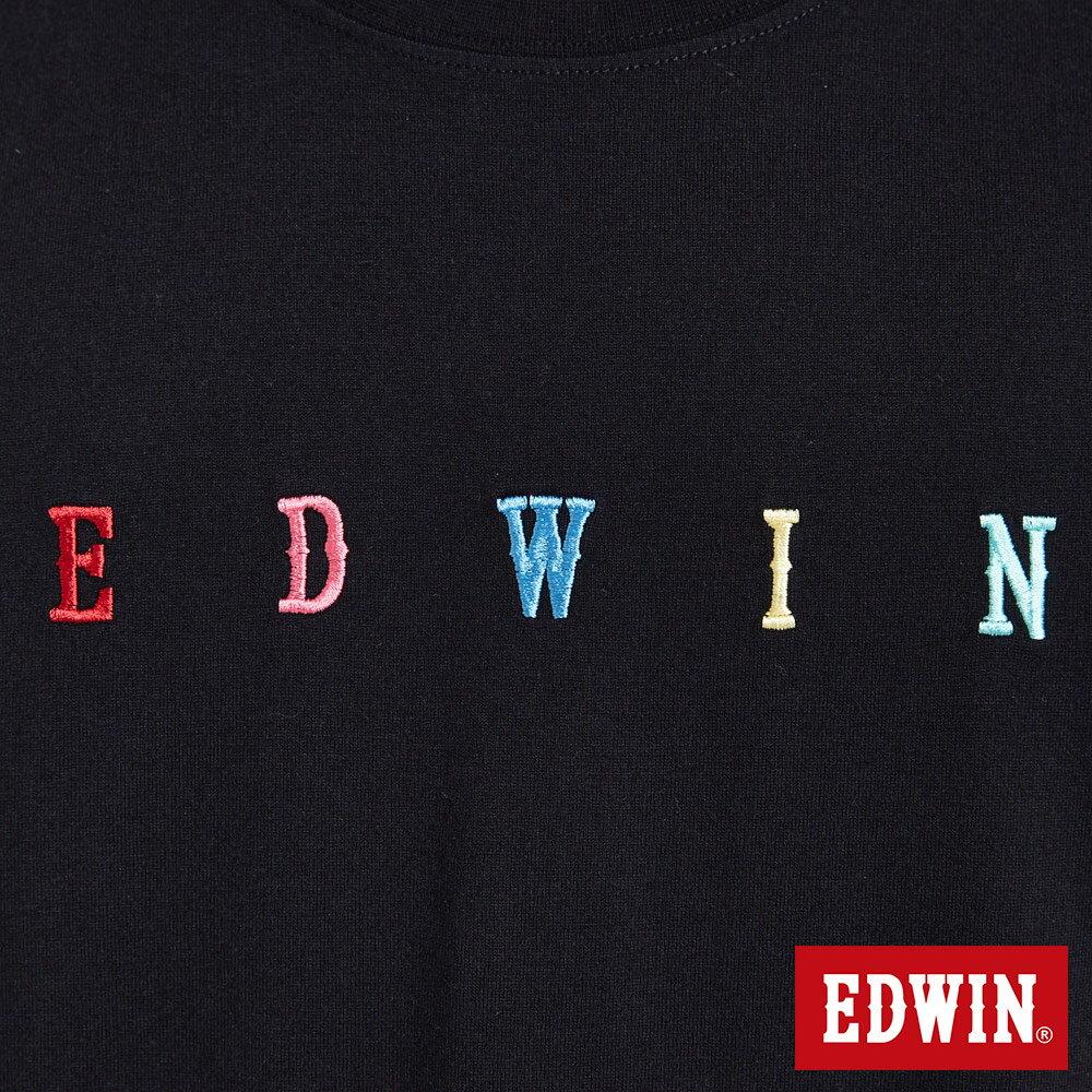 EDWIN 繽紛LOGO繡字 短袖T恤-男款 黑色 東京系列 5