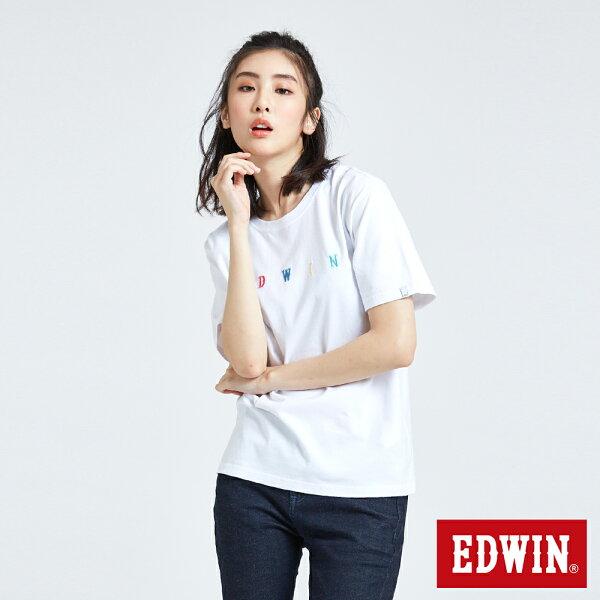 【新品上市↘】EDWIN繽紛LOGO繡字短袖T恤-女款白色東京系列【5月會員消費滿3000元再賺15%點數】