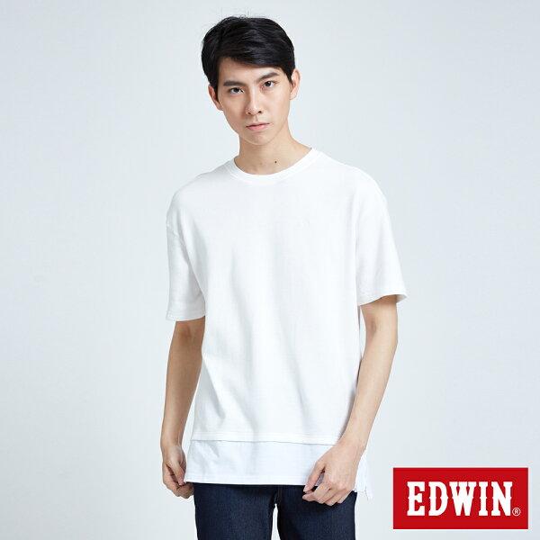 【當季新款直降5折↘】EDWIN異材質剪接寬版短袖T恤-男款白色東京系列【7月會員神券APP結帳