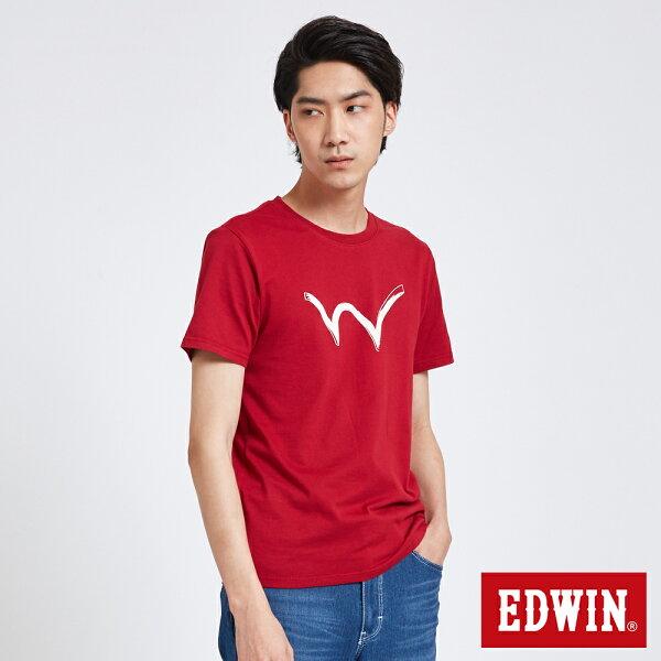【新品上市↘】EDWIN手繪W反光印短袖T恤-男款紅色東京系列【5月會員消費滿3000元再賺15%點數】