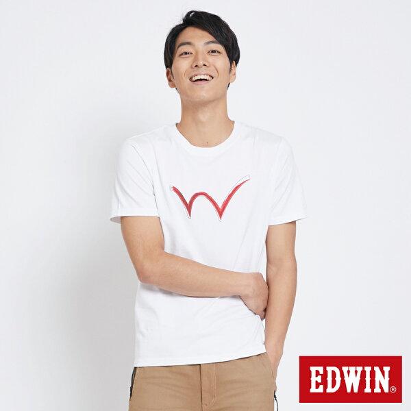 【新品上市↘】EDWIN手繪W反光印短袖T恤-男款白色東京系列【5月會員消費滿3000元再賺15%點數】