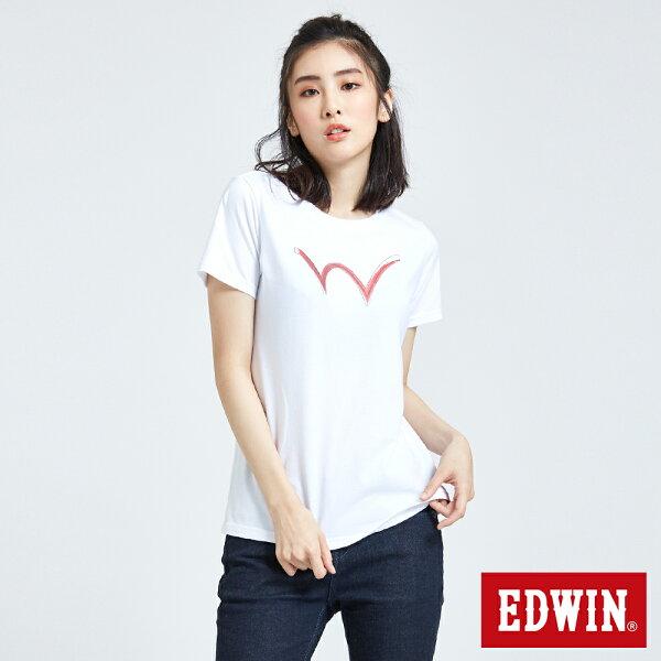 【新品上市↘】EDWIN手繪W反光印短袖T恤-女款白色東京系列【5月會員消費滿3000元再賺15%點數】