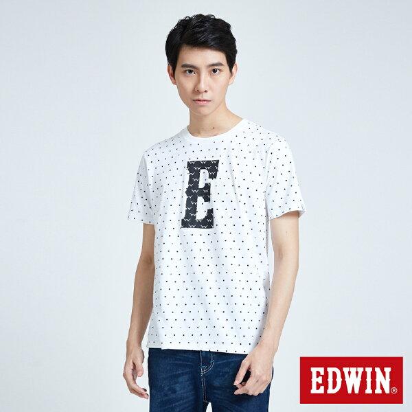【當季新款直降5折↘】EDWIN大ELOGO點點短袖T恤-男款白色東京系列【7月會員神券APP結帳