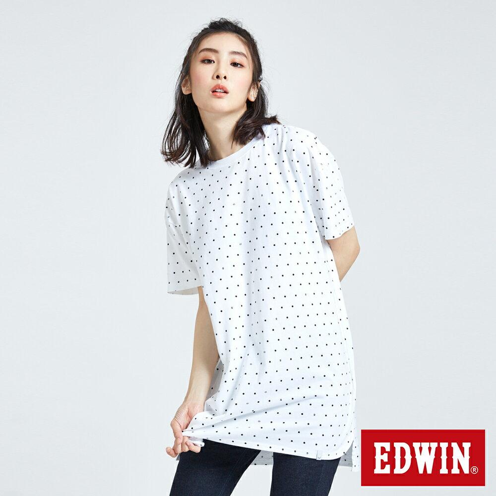 EDWIN 61印花點點 長版短袖T恤-中性款 白色 東京系列 0