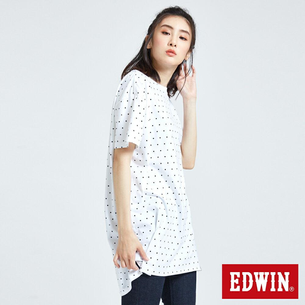 EDWIN 61印花點點 長版短袖T恤-中性款 白色 東京系列 2