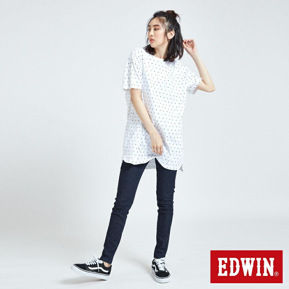 EDWIN 61印花點點 長版短袖T恤-中性款 白色 東京系列 5