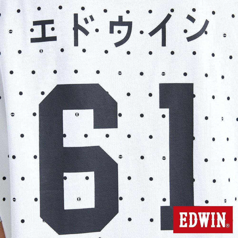EDWIN 61印花點點 長版短袖T恤-中性款 白色 東京系列 9