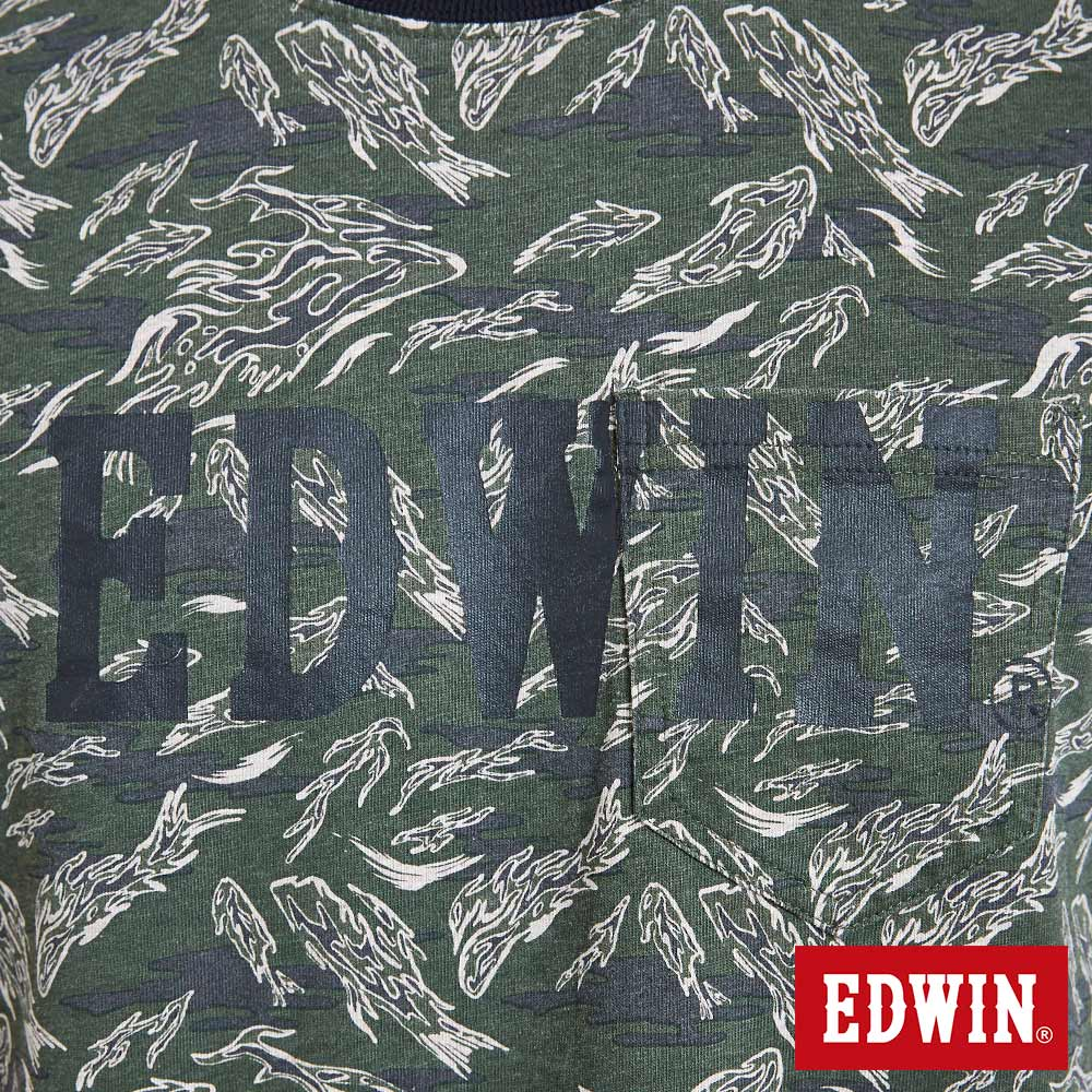 EDWIN 迷彩魚印花貼袋 短袖T恤-男款 苔綠 築地系列 5