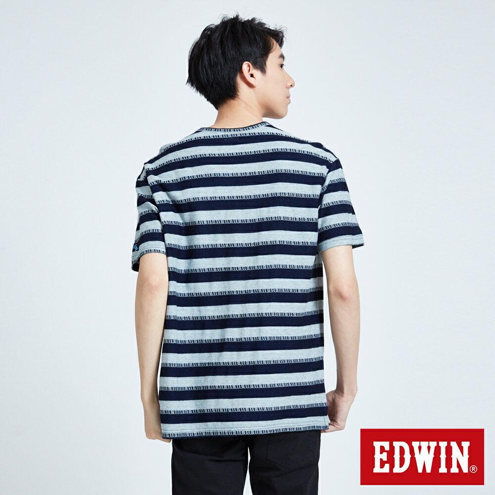 【領券滿1,200再折120】EDWIN INDIGO 貼袋條紋 寬鬆短袖T恤-男款 原藍色 築地系列
