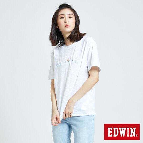 【新品換季2件以上7折↘】EDWIN海底世界LOGO短袖T恤-女款白色築地系列【第3件起單數件手動折價