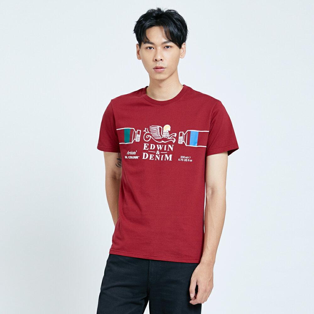 新品↘EDWIN 怪獸LOGO 短袖T恤-男款 朱紅 塗鴉系列 1