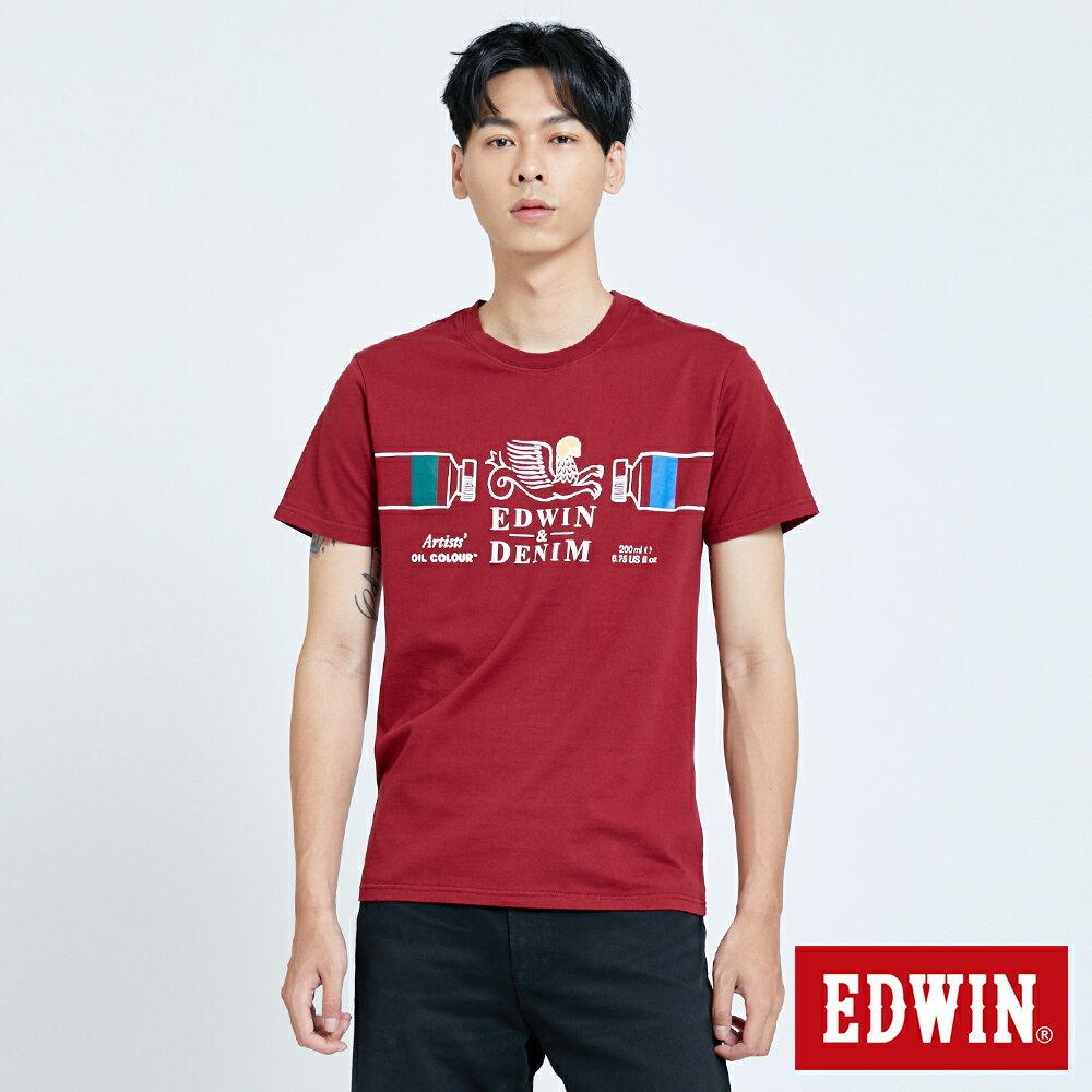 新品↘EDWIN 怪獸LOGO 短袖T恤-男款 朱紅 塗鴉系列 0