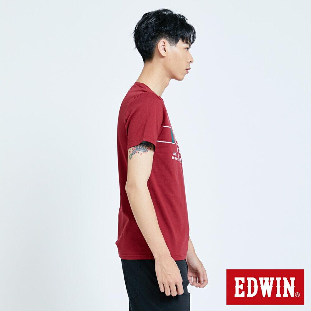 新品↘EDWIN 怪獸LOGO 短袖T恤-男款 朱紅 塗鴉系列 4