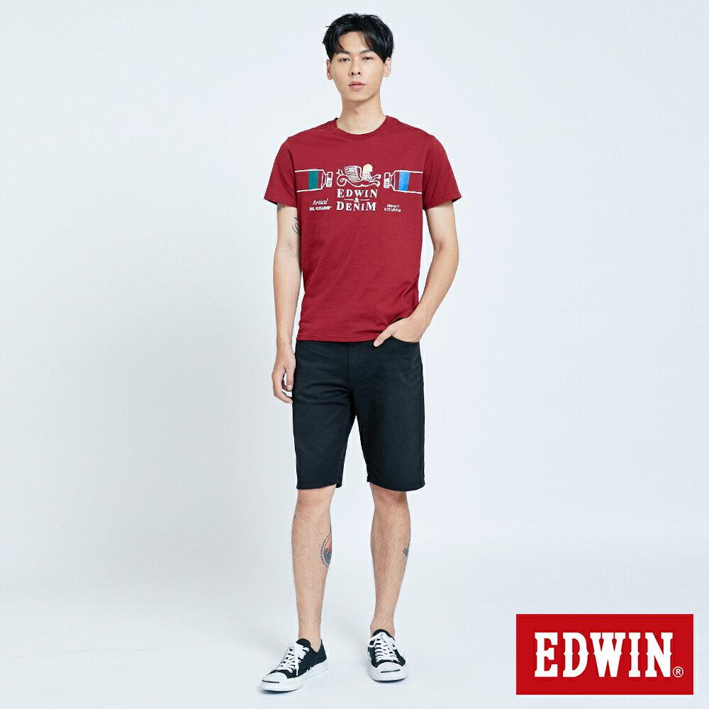 新品↘EDWIN 怪獸LOGO 短袖T恤-男款 朱紅 塗鴉系列 5
