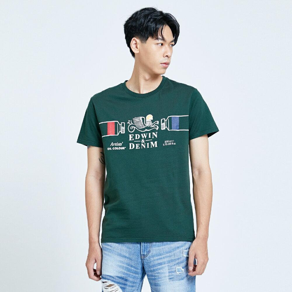新品↘EDWIN 怪獸LOGO 短袖T恤-男款 墨綠 塗鴉系列 1