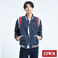 新品↘EDWIN 復古拼接 棒球式風衣外套-男款 丈青 OUTDOOR-EDWIN-潮流男裝