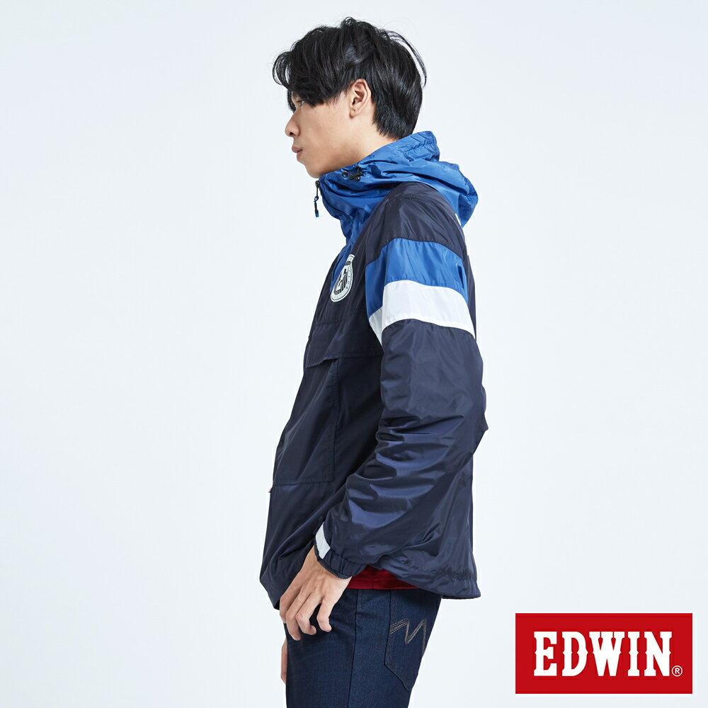 EDWIN 復古連帽 套頭式風衣外套-男款 丈青 OUTDOOR 4