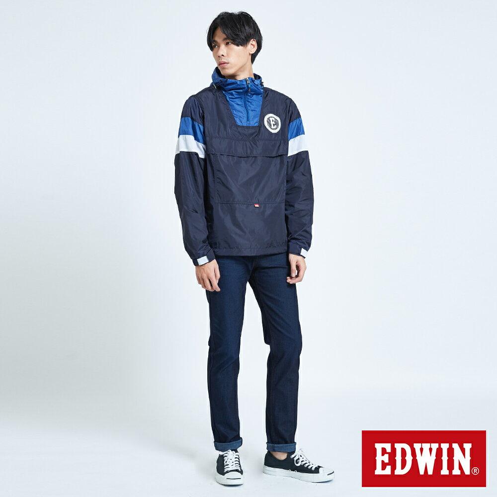 EDWIN 復古連帽 套頭式風衣外套-男款 丈青 OUTDOOR 5