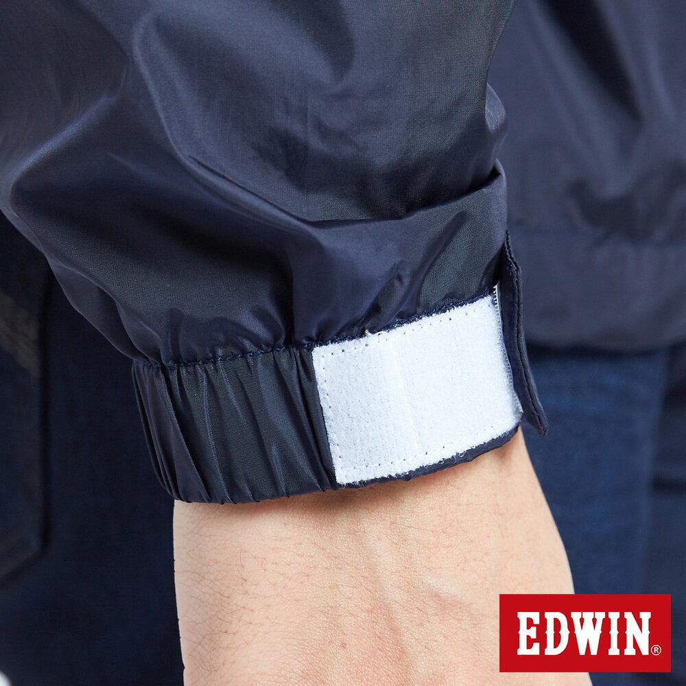 EDWIN 復古連帽 套頭式風衣外套-男款 丈青 OUTDOOR 7