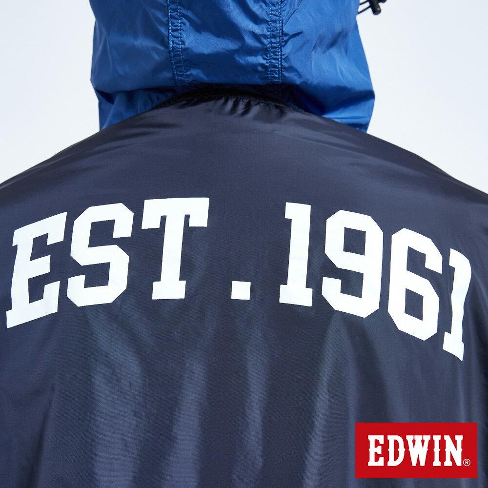 EDWIN 復古連帽 套頭式風衣外套-男款 丈青 OUTDOOR 8