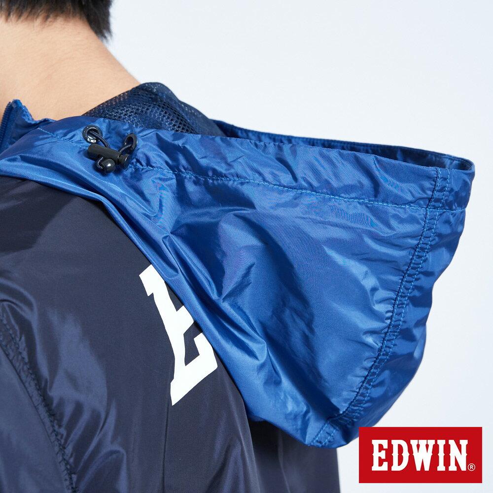 EDWIN 復古連帽 套頭式風衣外套-男款 丈青 OUTDOOR 9