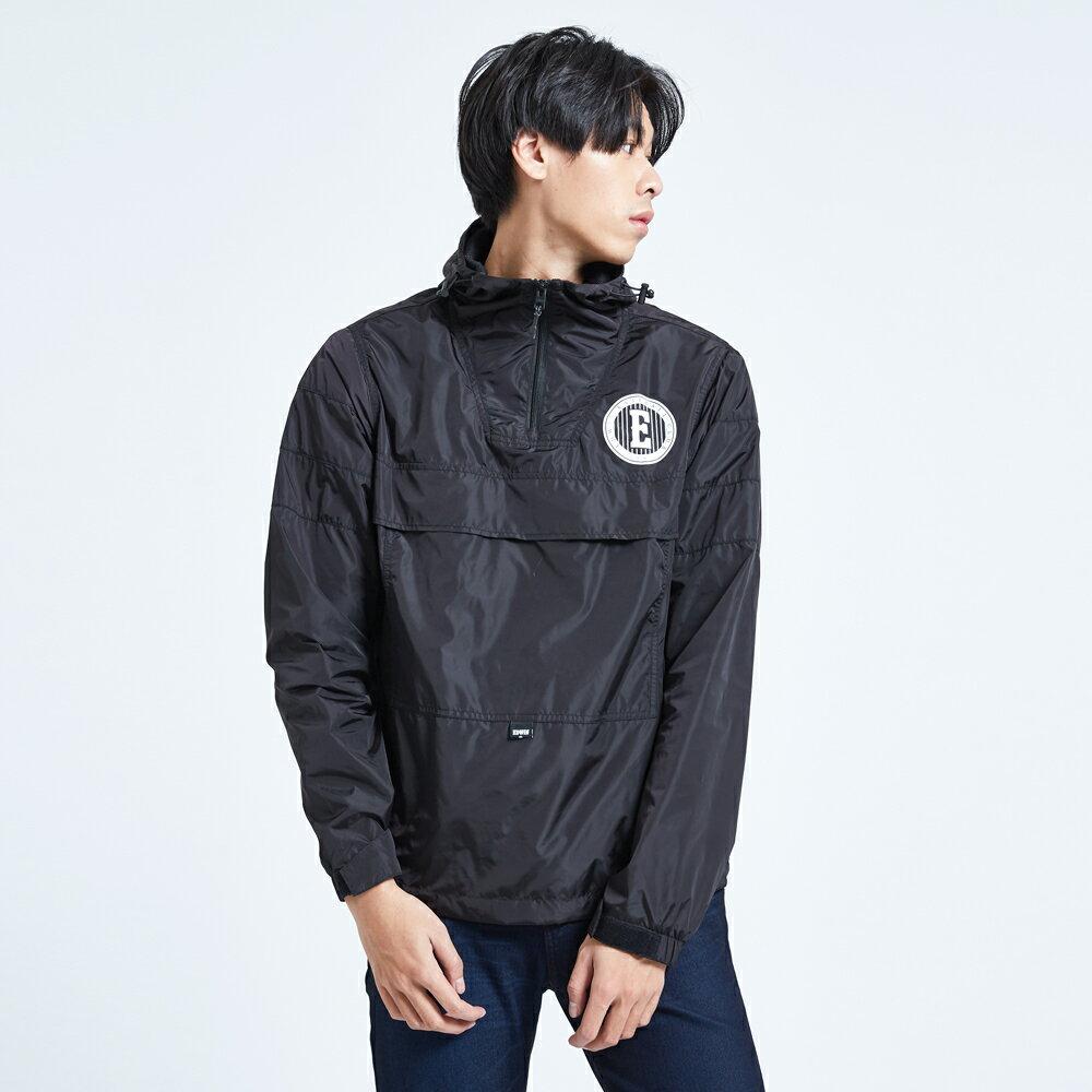 新品↘EDWIN 復古連帽 套頭式風衣外套-男款 黑色 OUTDOOR 1