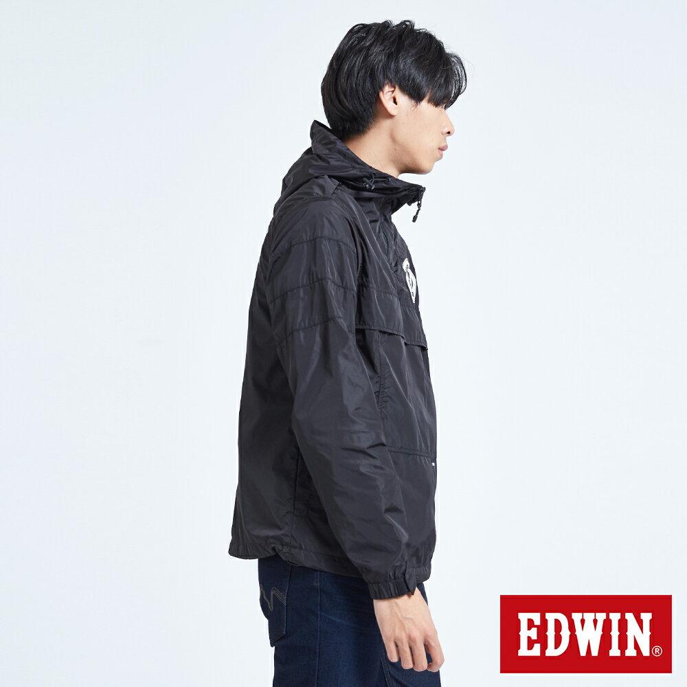新品↘EDWIN 復古連帽 套頭式風衣外套-男款 黑色 OUTDOOR 3
