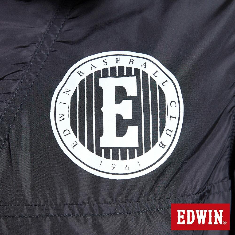 新品↘EDWIN 復古連帽 套頭式風衣外套-男款 黑色 OUTDOOR 6