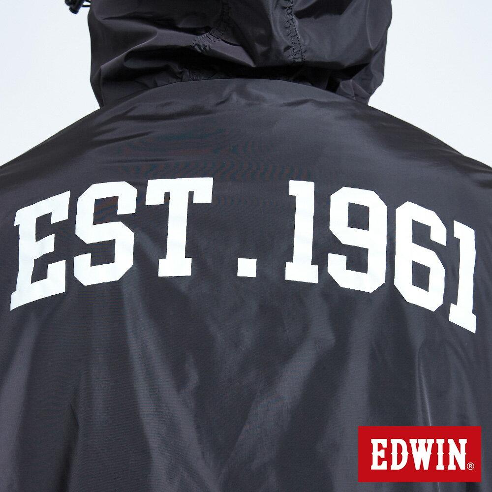 新品↘EDWIN 復古連帽 套頭式風衣外套-男款 黑色 OUTDOOR 8